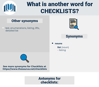 checklists, synonym checklists, another word for checklists, words like checklists, thesaurus checklists