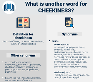 cheekiness, synonym cheekiness, another word for cheekiness, words like cheekiness, thesaurus cheekiness
