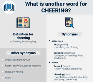 cheering, synonym cheering, another word for cheering, words like cheering, thesaurus cheering