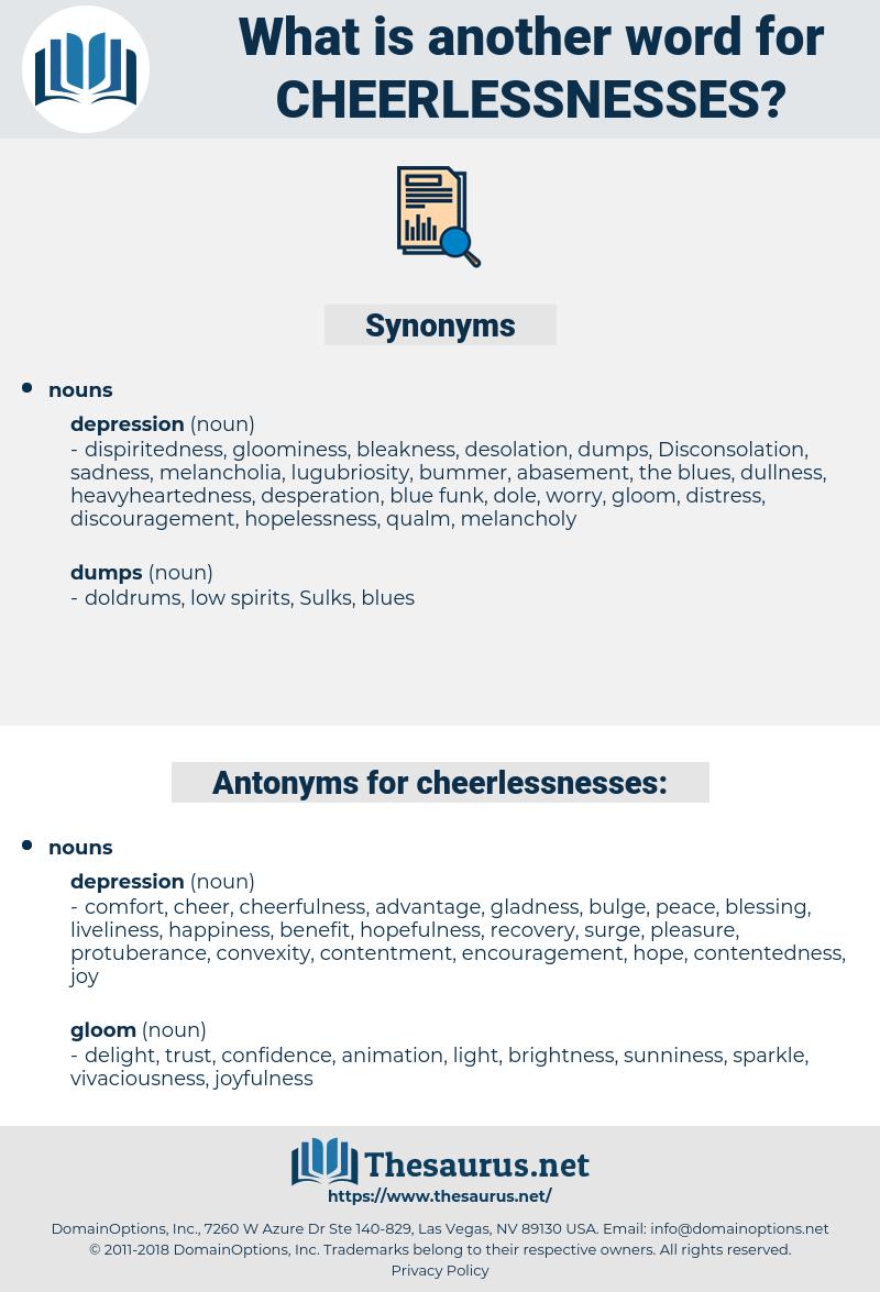 cheerlessnesses, synonym cheerlessnesses, another word for cheerlessnesses, words like cheerlessnesses, thesaurus cheerlessnesses