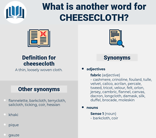 cheesecloth, synonym cheesecloth, another word for cheesecloth, words like cheesecloth, thesaurus cheesecloth