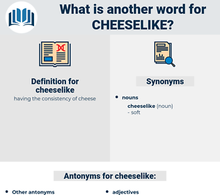 cheeselike, synonym cheeselike, another word for cheeselike, words like cheeselike, thesaurus cheeselike