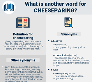cheeseparing, synonym cheeseparing, another word for cheeseparing, words like cheeseparing, thesaurus cheeseparing