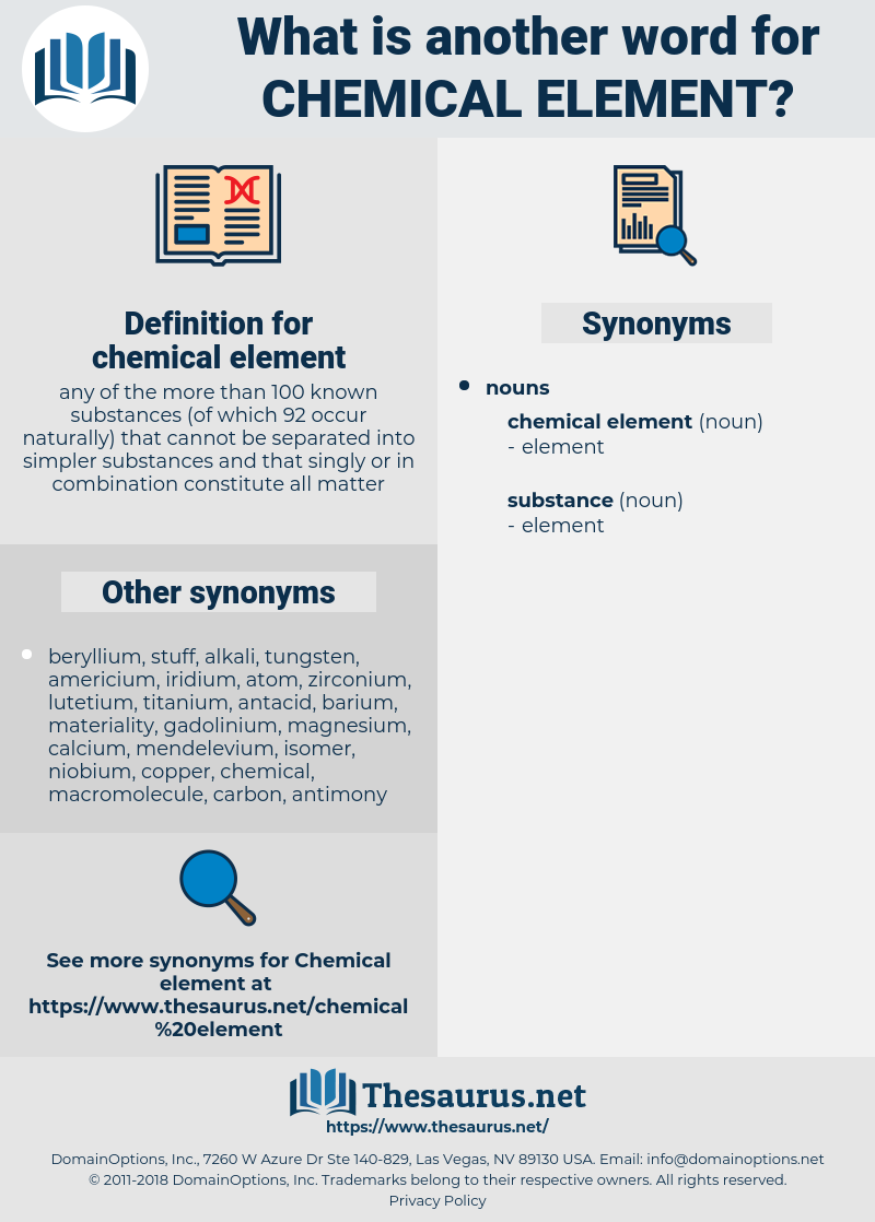 chemical element, synonym chemical element, another word for chemical element, words like chemical element, thesaurus chemical element