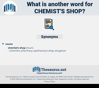 chemist's shop, synonym chemist's shop, another word for chemist's shop, words like chemist's shop, thesaurus chemist's shop