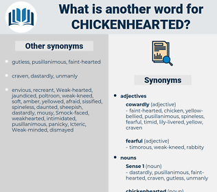 chickenhearted, synonym chickenhearted, another word for chickenhearted, words like chickenhearted, thesaurus chickenhearted