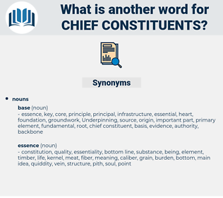 chief constituents, synonym chief constituents, another word for chief constituents, words like chief constituents, thesaurus chief constituents