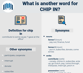 chip in, synonym chip in, another word for chip in, words like chip in, thesaurus chip in