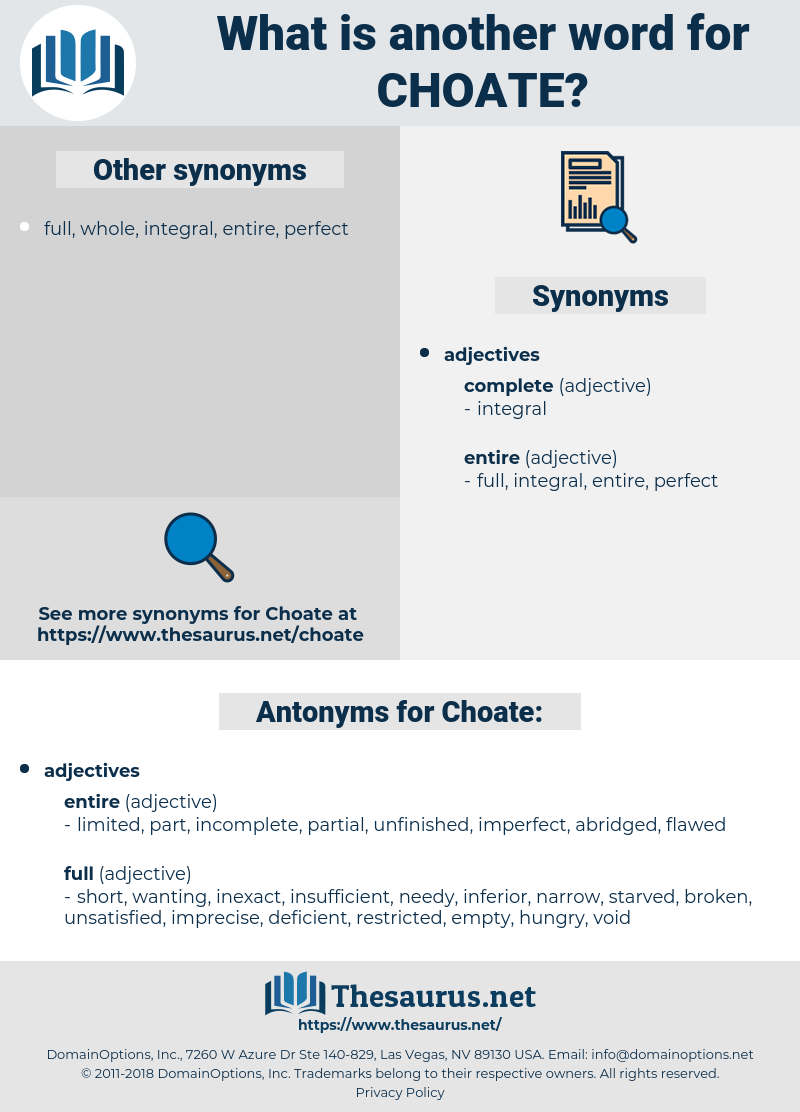 Choate, synonym Choate, another word for Choate, words like Choate, thesaurus Choate