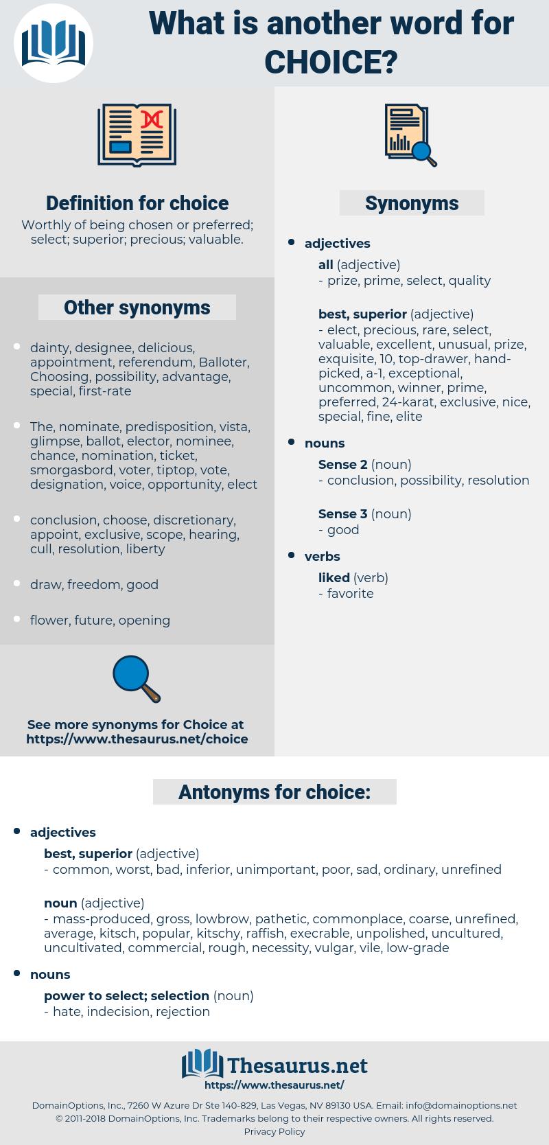 choice, synonym choice, another word for choice, words like choice, thesaurus choice