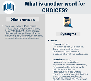 choices, synonym choices, another word for choices, words like choices, thesaurus choices
