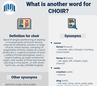 choir, synonym choir, another word for choir, words like choir, thesaurus choir