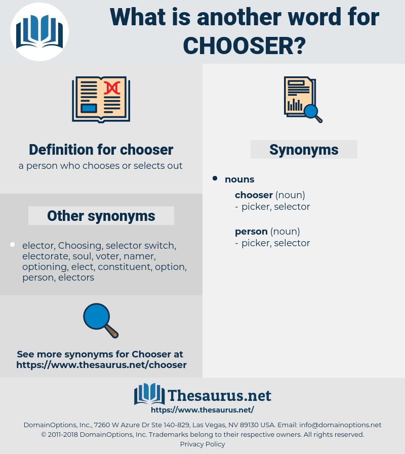 chooser, synonym chooser, another word for chooser, words like chooser, thesaurus chooser