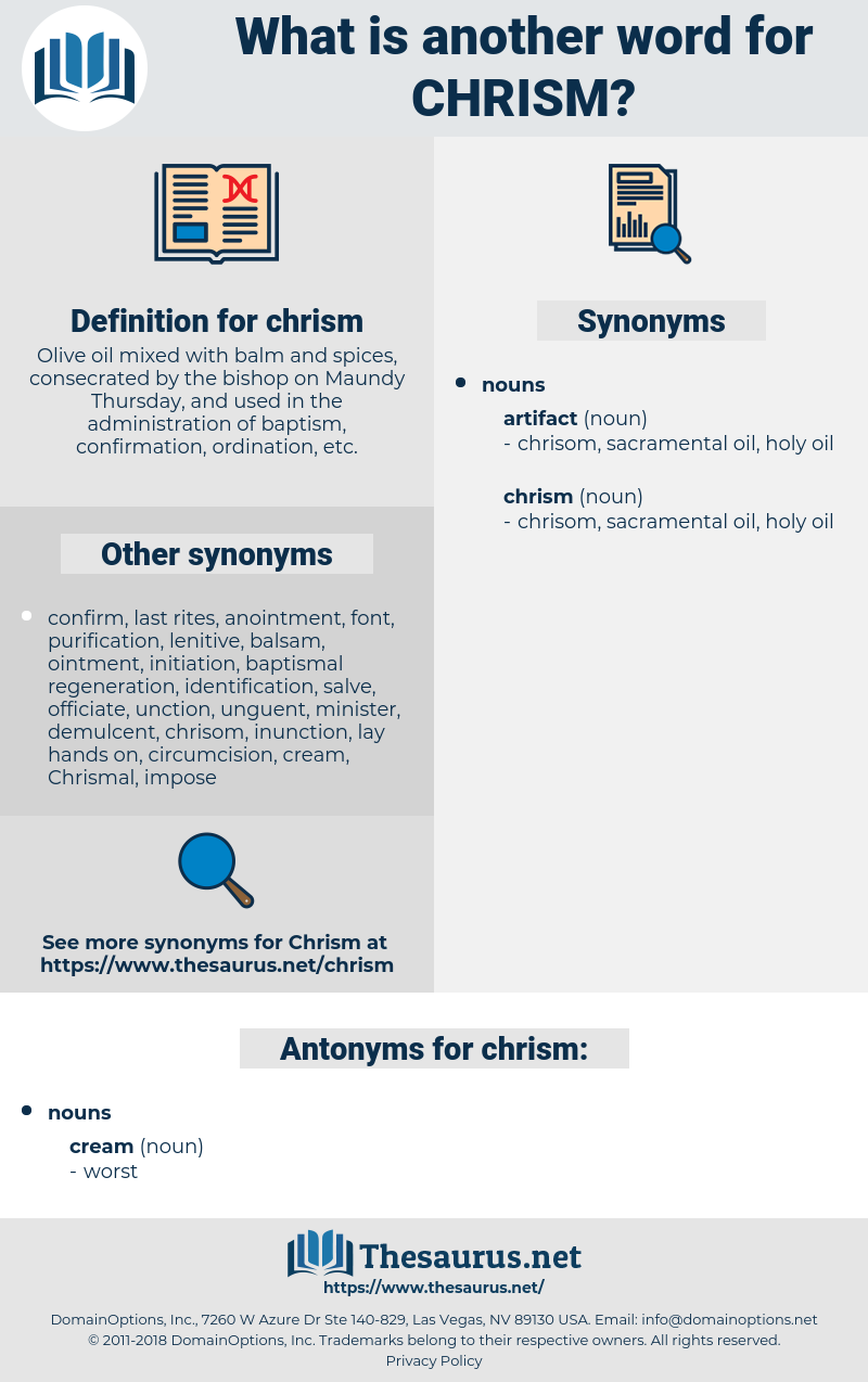 chrism, synonym chrism, another word for chrism, words like chrism, thesaurus chrism