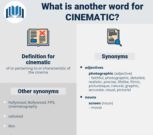 cinematic, synonym cinematic, another word for cinematic, words like cinematic, thesaurus cinematic