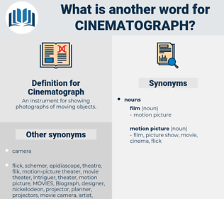 Cinematograph, synonym Cinematograph, another word for Cinematograph, words like Cinematograph, thesaurus Cinematograph