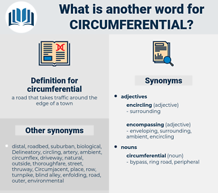circumferential, synonym circumferential, another word for circumferential, words like circumferential, thesaurus circumferential