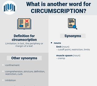 circumscription, synonym circumscription, another word for circumscription, words like circumscription, thesaurus circumscription