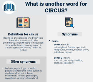 circus, synonym circus, another word for circus, words like circus, thesaurus circus