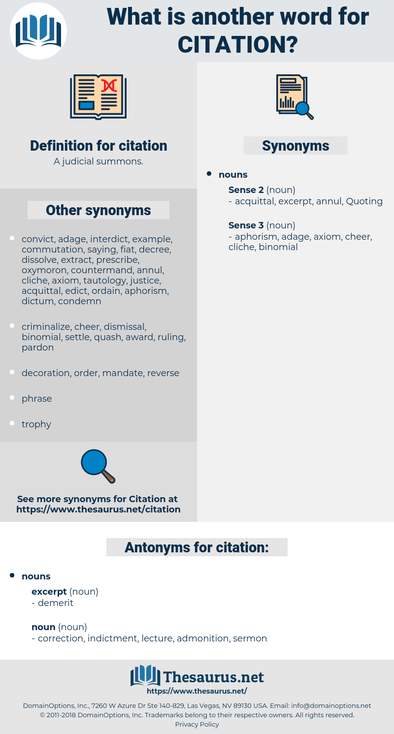 citation, synonym citation, another word for citation, words like citation, thesaurus citation