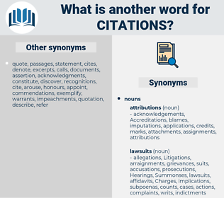 citations, synonym citations, another word for citations, words like citations, thesaurus citations