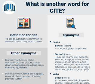 cite, synonym cite, another word for cite, words like cite, thesaurus cite
