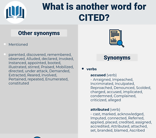 Cited, synonym Cited, another word for Cited, words like Cited, thesaurus Cited