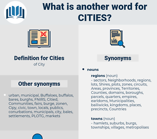 Cities, synonym Cities, another word for Cities, words like Cities, thesaurus Cities