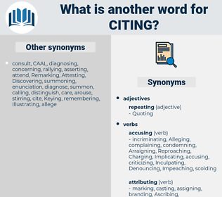 Citing, synonym Citing, another word for Citing, words like Citing, thesaurus Citing