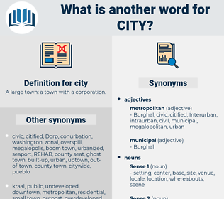 city, synonym city, another word for city, words like city, thesaurus city