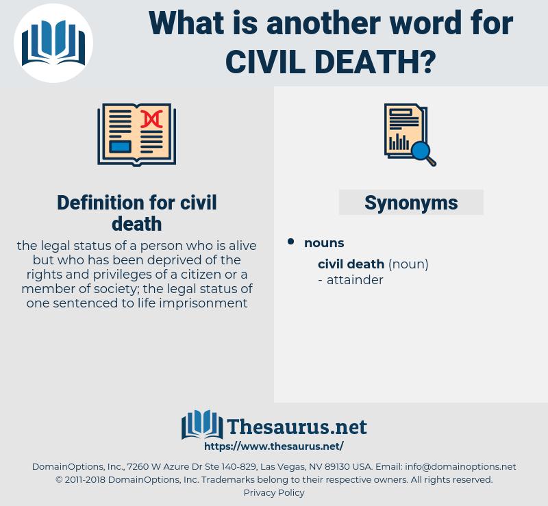 civil death, synonym civil death, another word for civil death, words like civil death, thesaurus civil death