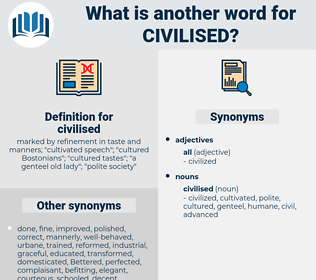 civilised, synonym civilised, another word for civilised, words like civilised, thesaurus civilised