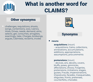 claims, synonym claims, another word for claims, words like claims, thesaurus claims
