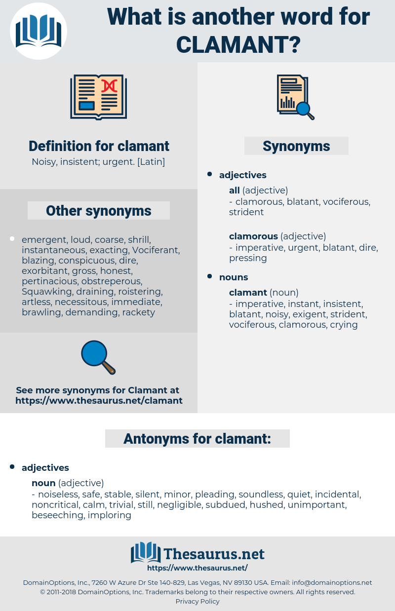 clamant, synonym clamant, another word for clamant, words like clamant, thesaurus clamant