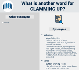 clamming up, synonym clamming up, another word for clamming up, words like clamming up, thesaurus clamming up