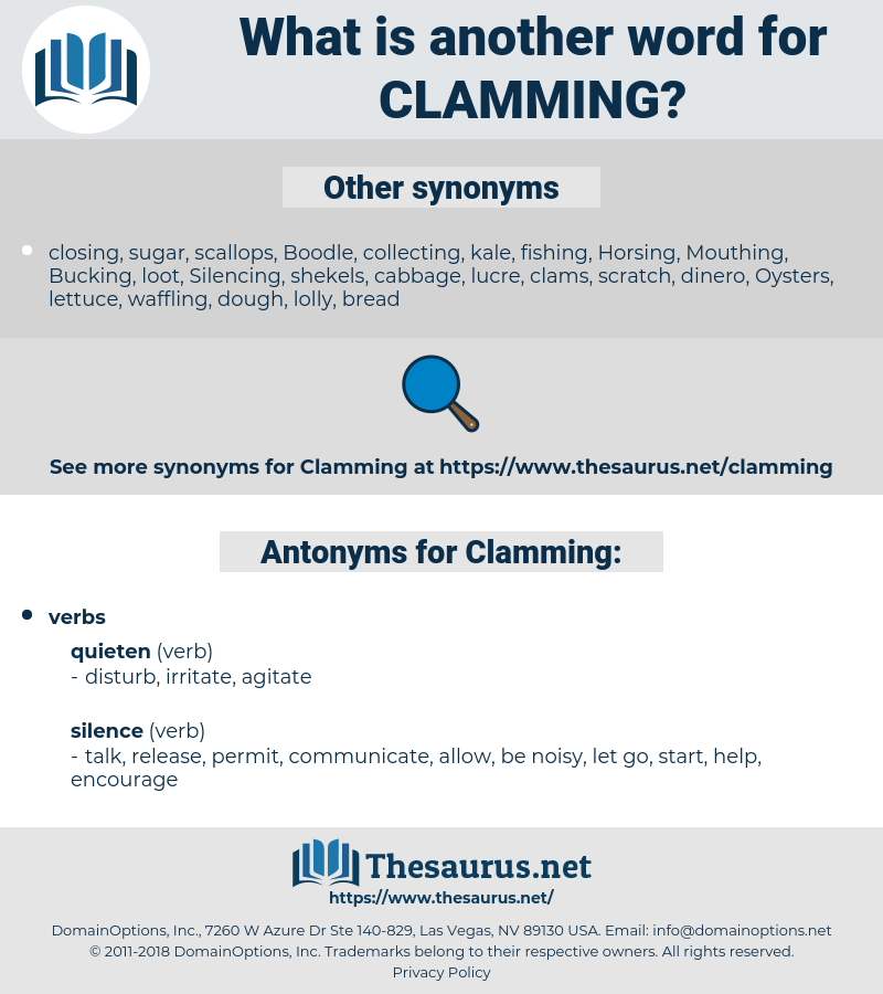 Clamming, synonym Clamming, another word for Clamming, words like Clamming, thesaurus Clamming