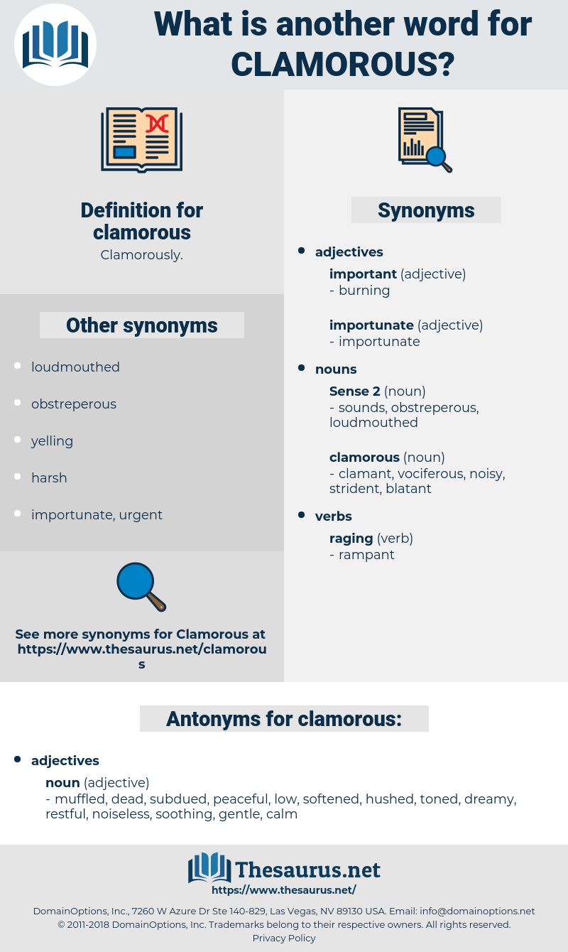 clamorous, synonym clamorous, another word for clamorous, words like clamorous, thesaurus clamorous