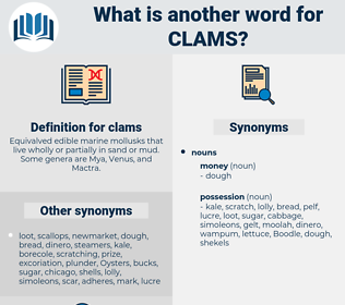clams, synonym clams, another word for clams, words like clams, thesaurus clams