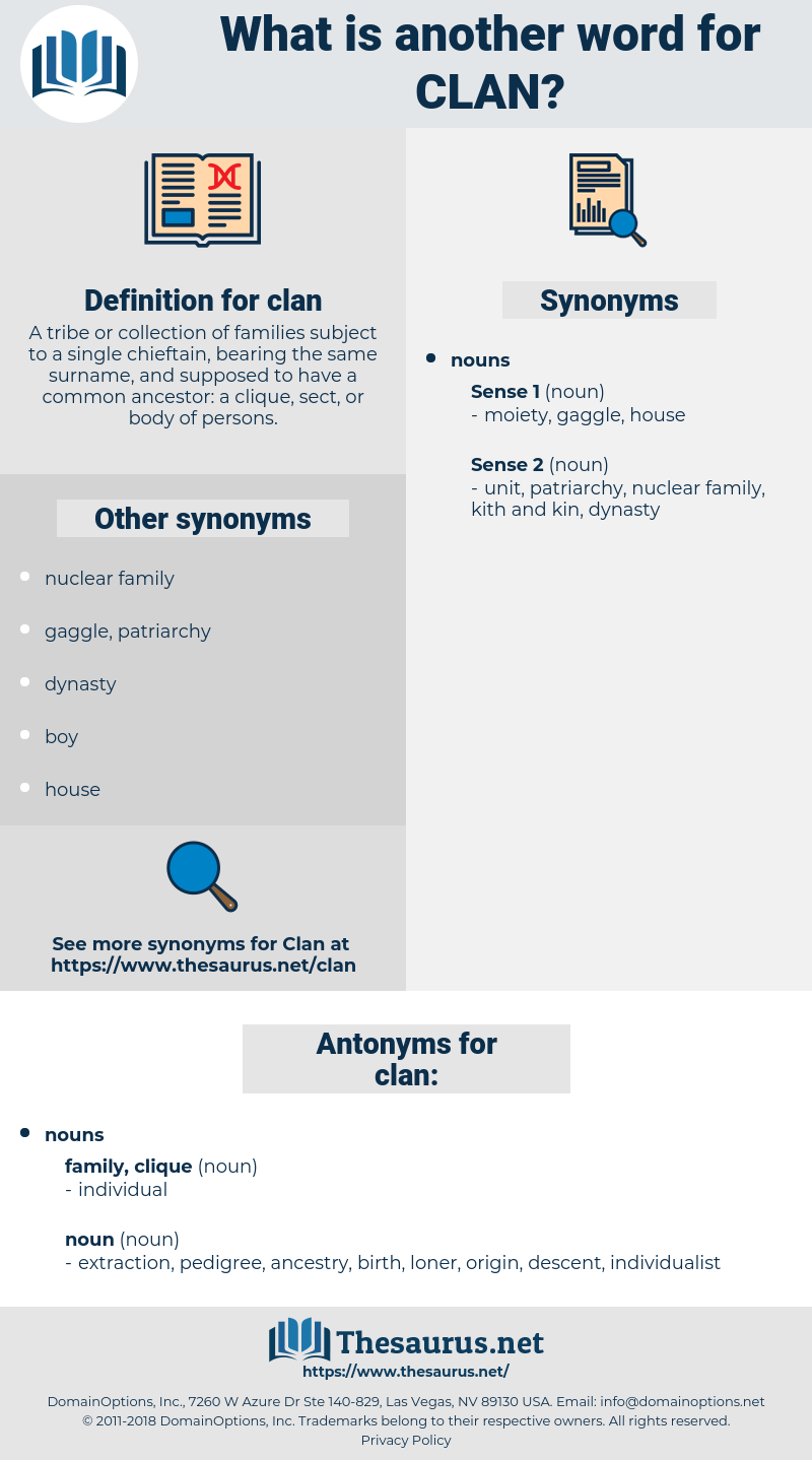 clan, synonym clan, another word for clan, words like clan, thesaurus clan