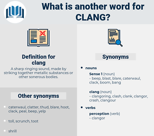 clang, synonym clang, another word for clang, words like clang, thesaurus clang