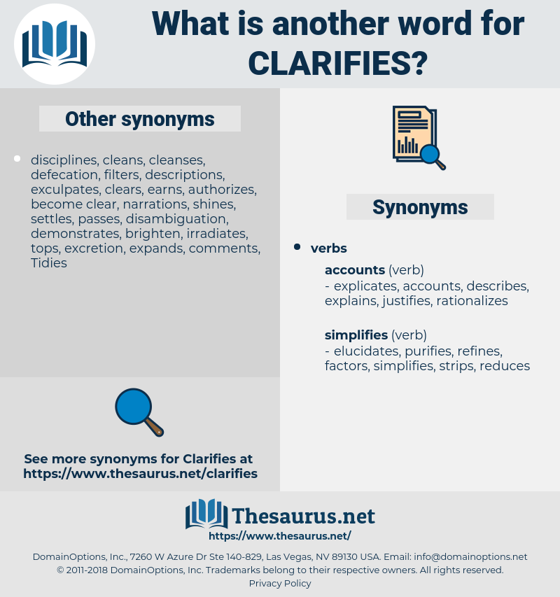 clarifies, synonym clarifies, another word for clarifies, words like clarifies, thesaurus clarifies