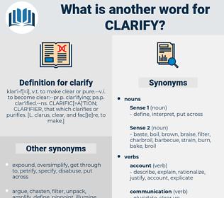 clarify, synonym clarify, another word for clarify, words like clarify, thesaurus clarify