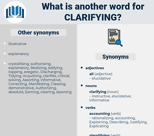 clarifying, synonym clarifying, another word for clarifying, words like clarifying, thesaurus clarifying