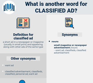classified ad, synonym classified ad, another word for classified ad, words like classified ad, thesaurus classified ad