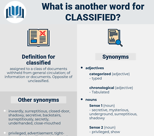 classified, synonym classified, another word for classified, words like classified, thesaurus classified