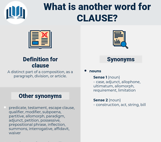 clause, synonym clause, another word for clause, words like clause, thesaurus clause