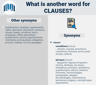 clauses, synonym clauses, another word for clauses, words like clauses, thesaurus clauses