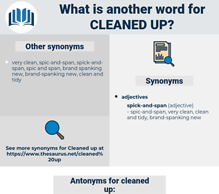 cleaned up, synonym cleaned up, another word for cleaned up, words like cleaned up, thesaurus cleaned up