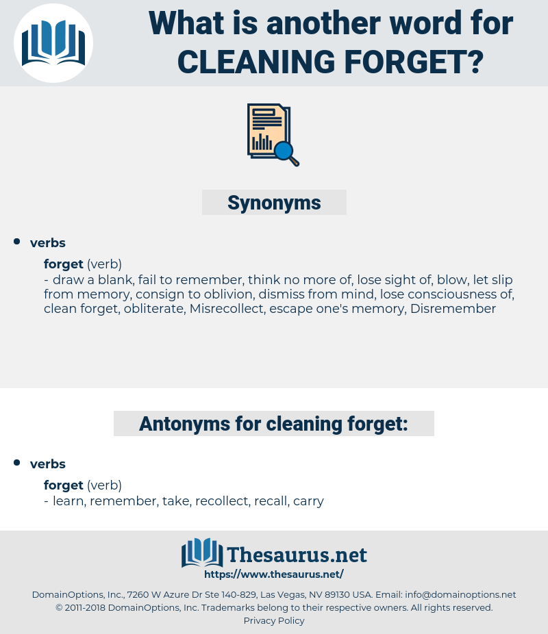 cleaning forget, synonym cleaning forget, another word for cleaning forget, words like cleaning forget, thesaurus cleaning forget