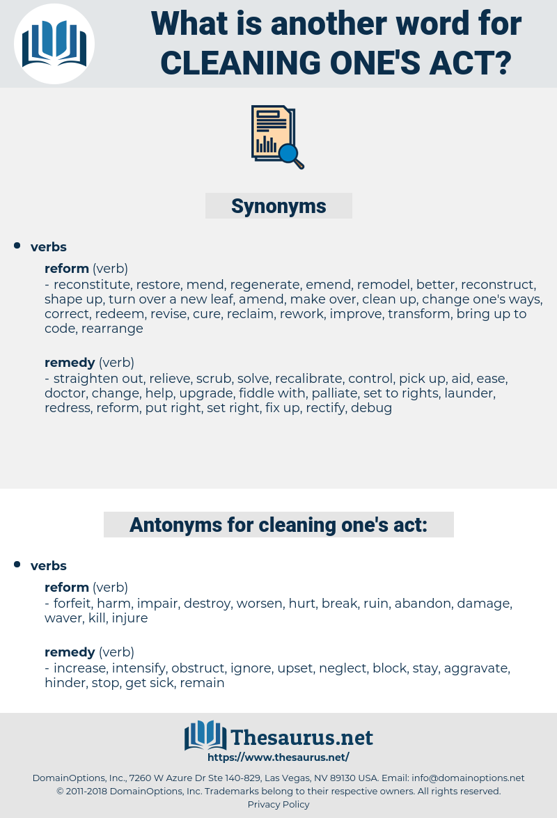 cleaning one's act, synonym cleaning one's act, another word for cleaning one's act, words like cleaning one's act, thesaurus cleaning one's act